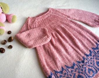 Baby knit dress, hand knitted girls dress, pink baby dress with cats print. Made to order.