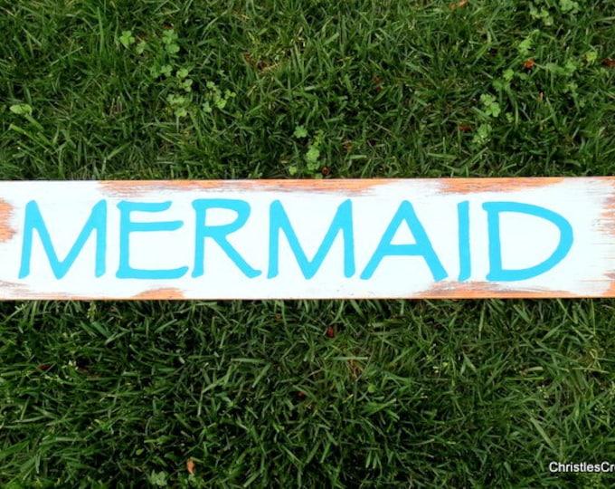 Mermaid & Starfish Wood Pallet Art