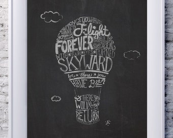 Hande lettering shape Leonardo Da Vinci quote Art Hot Air Balloon with Hand Lettering. Once you have tasted flight eyes turned skyward