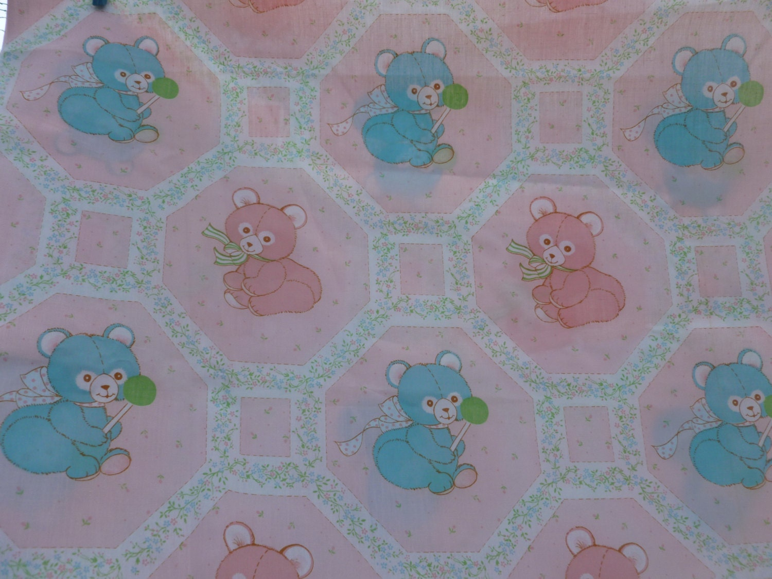 Vintage baby girl fabric 1980s spring by sewvintagehappy for Retro baby fabric