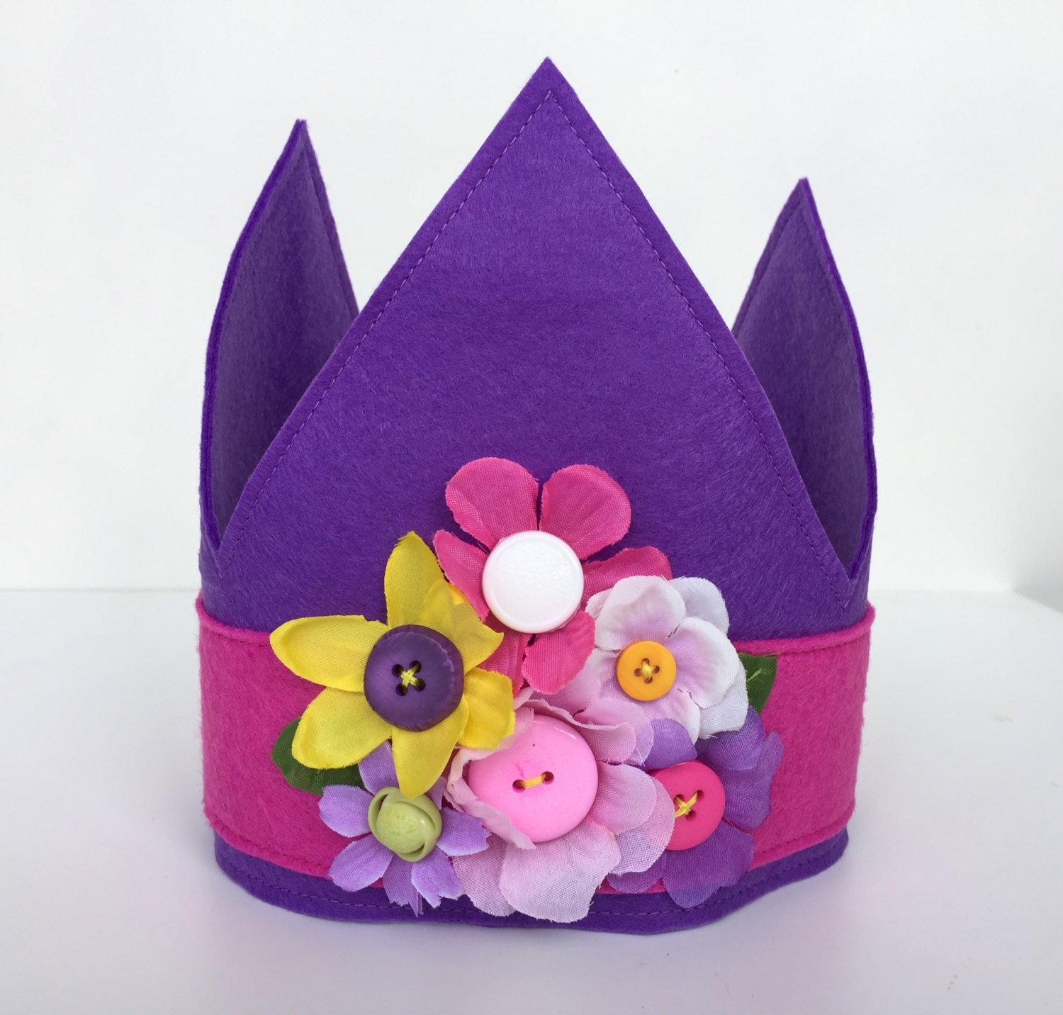 Purple Princess Crown with Flowers