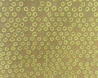 Brown and Green Geometric Circles - Upholstery Fabric By The Yard