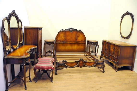 1930's French Provincial Bedroom Set Burl Wood By