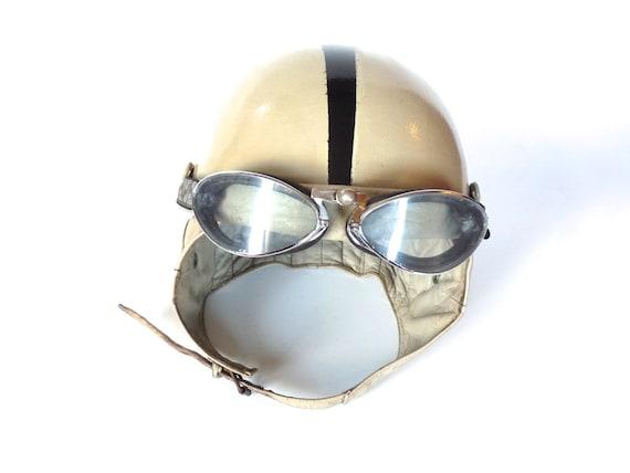 ancien casque fran ais en cuir casque bol moto. Black Bedroom Furniture Sets. Home Design Ideas