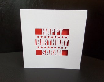 Happy Birthday Name Cut Out Card