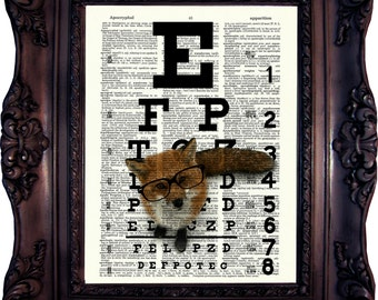 FOX NERD Eye Chart Print on Dictionary Page Vintage Fox Art Print Antique Fox Dictionary Print Antique Book Page Art Eye Chart Nerd C:592