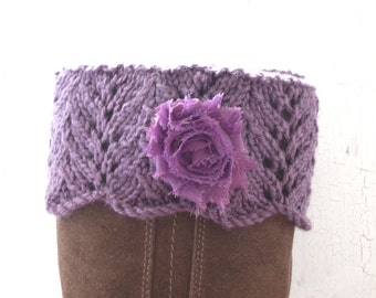 Boot Toppers, Leg Warmers, Boot Cuffs, Lace Leg Warmers, Knit Boot Cuffs, Lace Boot Cuffs, Boot Cuffs with Flowers, Purple Boot Cuffs