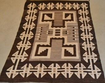 Vintage Native Rug : Native American Vintage Navajo Two Gray Hills Rug/weaving, Ca 1920's #536