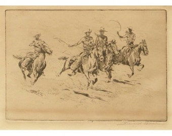 "Western Art : Western Artist, Edward Borein, Etching, ""Race to the Wagon"", #89"