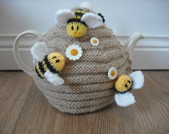 Hand Knitted Bee Hive Tea Cosy with Busy Bees & Flowers.