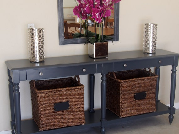 Grey Foyer Table : Sold gorgeous grey foyer entry table by emerygracedesignshop
