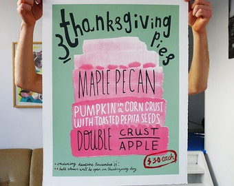 Handmade Screenprint: Thanksgiving Pies, Limited edition print.
