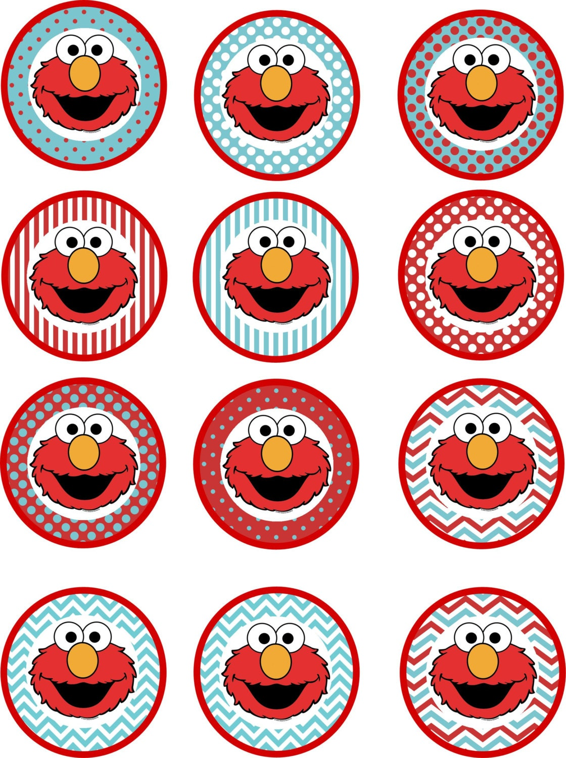 Elmo cupcake toppers printable pink or blue for Printable elmo cake template