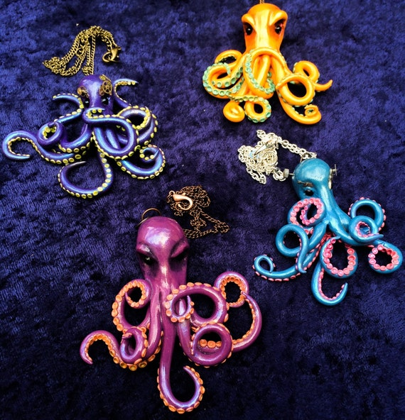 Custom Made Cephalopod Octopus Pendant with Steampunk Embellishment