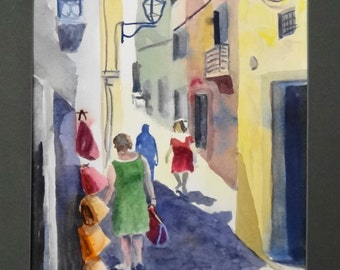 "Original watercolor ""Italian street"" -hill- sunlight- shadows- old woman- walking-Italy- old buildings"