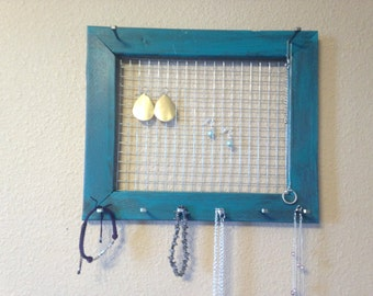 Teal and brown necklace holder, bracelet, earring holder, distressed jewelry frame, jewelry organizer