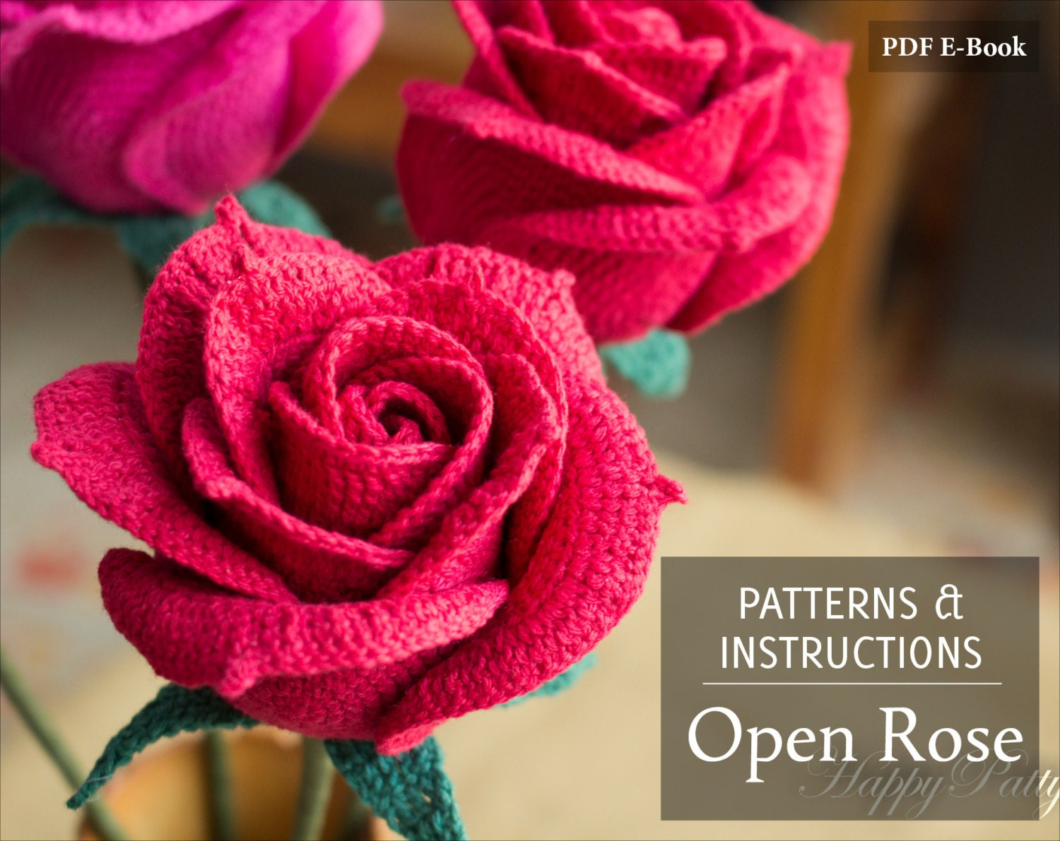 Crochet Rose Pattern Crochet Pattern for by HappyPattyCrochet