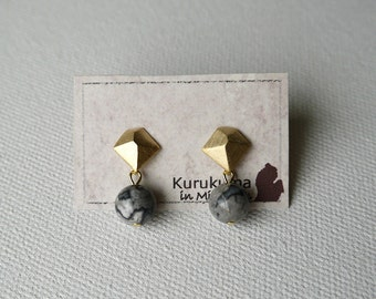 Jasper Stone With Mat Gold Color Parts, Sterling Silver Stud Earrings