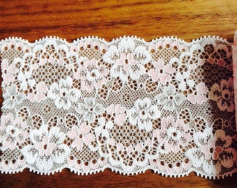 1 meter pink white floral embroidered scalloped stretch lace trim Japan 8cm wide
