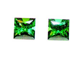 TOURMALINE PRINCESS CUT, matched pair, faceted gems for earrings or side stones.,perfectly cut blue green stones from Brazil,