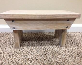 Whitewash wood foot stool