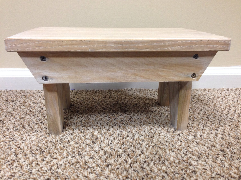 Wood Foot Stool ~ Whitewash wood foot stool
