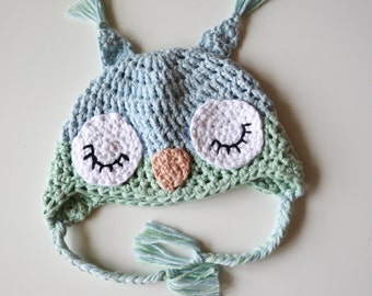 Crochet Sleeping Owl Baby Hat