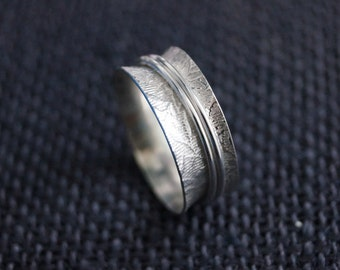 Sterling Silver Spinner Ring - Handmade Rustic Flower Embossed Double Spinning Ring - Valentine Gift - Wedding Band - By Mint & Vintage