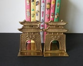 Vintage Folding Brass Pagoda Bookends/Made in Korea