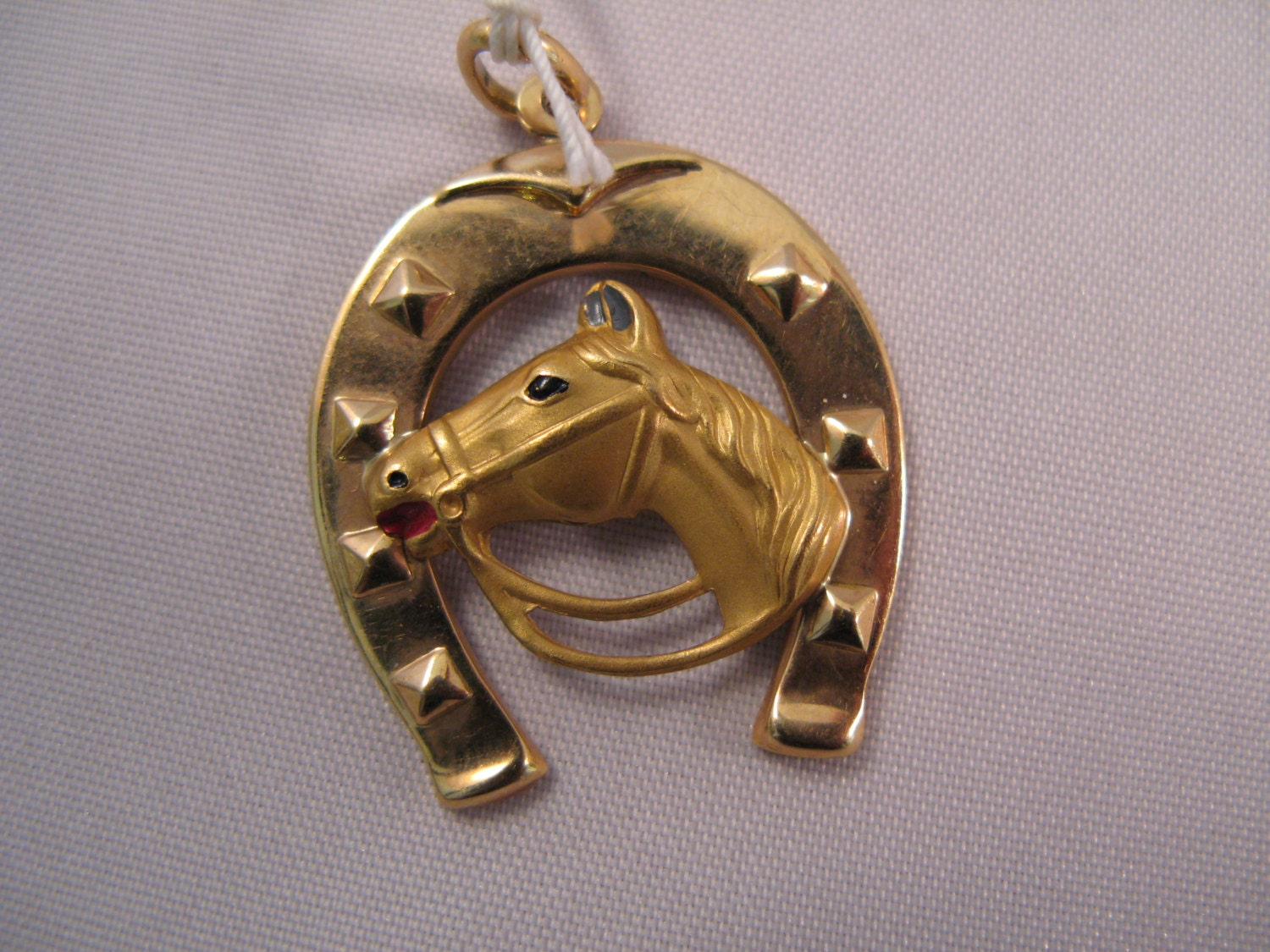 18k Yellow Gold Horseshoe And Horse Pendant Charm Free 9k