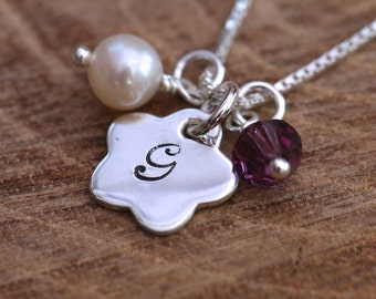 Sterling Silver Personalized Flower Girl Necklace Flower Initial Pendant Freshwater Pearl + Swarovski Birthstone Crystal Comes with Box