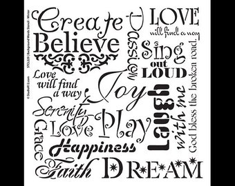 "Background Words Stencil - Faith & Inspiration - 11"" x 11"" - STCL230"