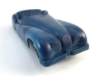 Vintage IRVIN Blue Navy Jaguar XK120 Plastic Car Model Toy XK 120 Sports Sport Convertible Metal Axle Balck Rubber Wheels