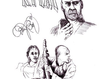Yippee Ki Yay Die Hard Movie Drawing Bruce Willis Black Pen Art American Retro American Action Film NYPD New York Police Department