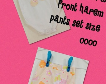 Handmade Harem Pants with matching Appliqued Onesie Size 0000