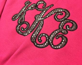 Sparkly Large Monogram Applique T-shirt or Sweatshirt