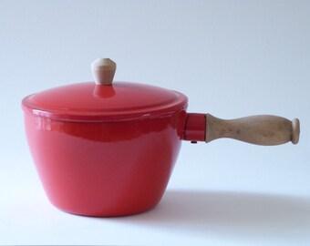 Red enamel stew pot - Wooden handle -
