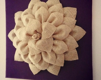 12x12 Burlap Blossom Canvas on Cream, Eggplant or Brown