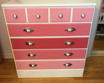 Sold-Example Only-3 Drawer Pink Ombre Girls Dresser