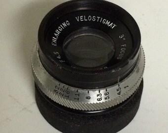 Antique Brass 3 INCH F 4.5 Wollensak VELOSTIGMAT ENLARGING Lens -Very Clean