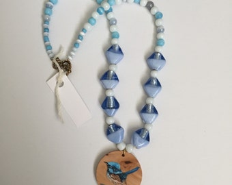 SALE!!! Hand Painted Superb Blue Wren Necklace By Meaghan Roberts