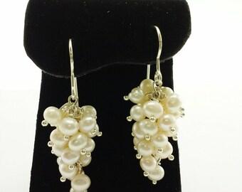 Sterling Silver Freshwater Cluster Pearls Earrings