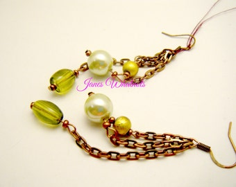 Earrings - Green Bead - Dangle Earrings