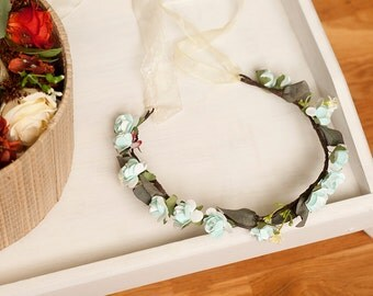 Flower Crown, with organdy ribbon.