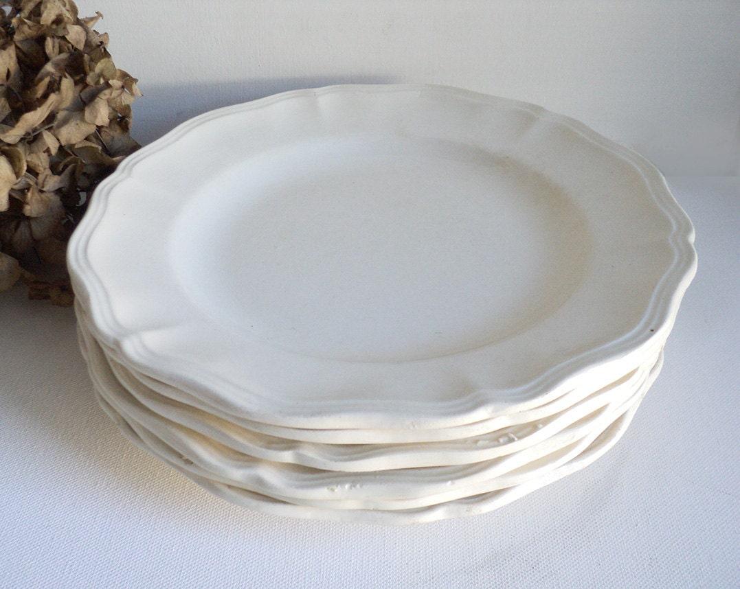6 Antique French Plates Creamware Plate Shabby Chic Cream