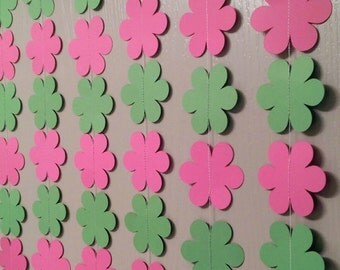 1 Pink and Green Flower Paper Garland,  Streamer, Baby Shower Decoration, Birthday Party, Baby Nursery, Back Drop, Weddings