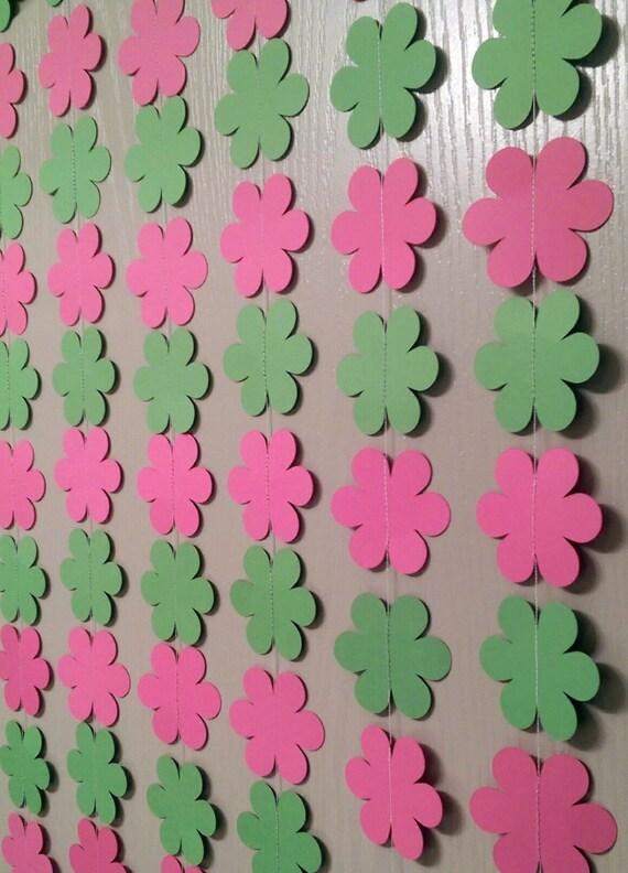 1 Pink And Green Flower Paper Garland Streamer Baby Shower