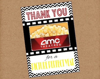 Thank You For A Picture Perfect Year Movie Gift Card. Teacher Appreciation Gift Card Holder. Instant Digital Download