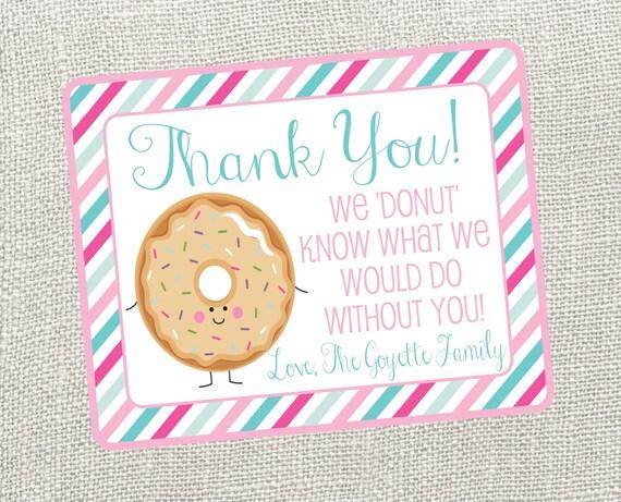 Donut Thank You Card. For Nurses Teacher Neighbor Friend