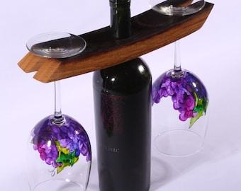 Grape wine glasses with wine barrel holder (set of 2)